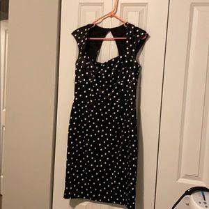 WHBM black and white polka dot dress size 8